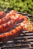 pic of grilled sausage  - Grilling sausages on barbecue grill - JPG