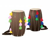 stock photo of punjabi  - an illustration of two punjabi drums called dhols with colorful decorations on a white background - JPG