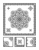 stock photo of right brain  - Framed mandala coloring page for adults  - JPG