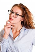 stock photo of wonderful  - Isolated young professional business woman manager wondering - JPG