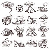 pic of mudslide  - Natural disasters earthquake tsunami volcanic tornado and other cataclysm doodle sketch hand drawn isolated vector illustration - JPG