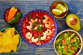 pic of nachos  - Ceviche de Camaron shrimp with nachos and guacamole mexican food - JPG