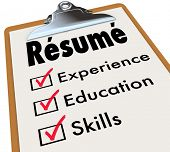 Resume word on a clipboard checklist of qualifications or criteria for a job including education, ex poster