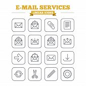 Постер, плакат: Mail services linear icons set Thin outline signs Vector