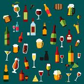foto of vodka  - Flat alcohol beverages and cocktails icons of wine bottles - JPG