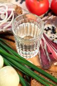 image of vodka  - Vodka and smoked meat on wooden table - JPG