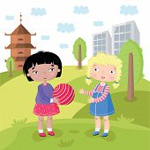 stock photo of multicultural  - Childrens world without prejudice - JPG