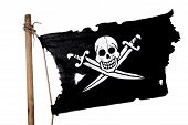 image of pirate flag  - Waving in the wind pirate flag on the mast - JPG