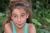 picture of ten years old  - Ten years old caucasian girl outdoors with freckles - JPG
