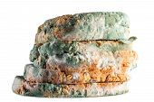 foto of whole-grain  - moldy bread whole grain in isolated white background - JPG