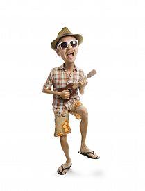 pic of caricatures  - caricature portrait of man playing Ukulele isolate background  - JPG