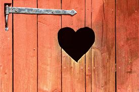 pic of outhouse  - Outdoor toilet door with carved heart below iron hinge - JPG