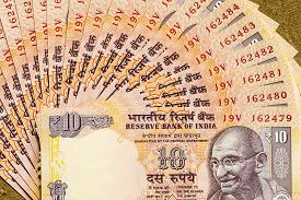 image of gandhi  - Indian ten rupees note arranged in sequence and depicting Mahatma Gandhi - JPG