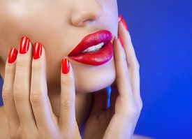 pic of lip  - Sexy Young Beautiful Girl with Red Lips and Red Nail Polish Bright Glistening Shining Make - JPG