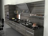 the modern kitchen interior design (3D rendering)