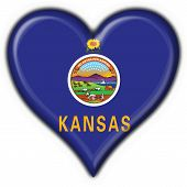 Kansas (usa State) Button Flag Heart Shape