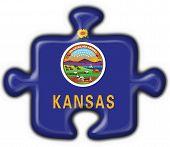 Kansas (usa State) Button Flag Puzzle Shape