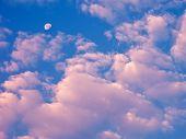 Rosa Wolken am blauen Himmel.