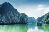 Постер, плакат: Tourist Boat In The Ha Long Bay Of The South China Sea Vietnam