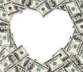 Heart frame of dollars as vignette with space for text.
