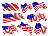 American flags waving set.