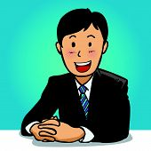 stock photo of woohoo  - young business man portrait in blue background - JPG