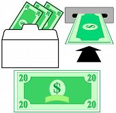 Withdraw or deposit dollar money in the bank: withdrawal envelope and in to ATM slot.