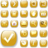 Set of shiny gold Control Button Icons, internet web page navigation symbols.