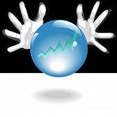 Geschäftliche Forecaster Hände um eine glänzende, Kristallkugel mit blue Glow, Vorhersagen, eine glänzende Zukunft der pr