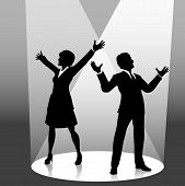 Business people raise their arms in celebratrion or welcome in the spotlight on stage.