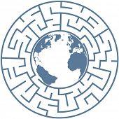 Постер, плакат: Планета Земля внутри радиальным лабиринтом как символ озадачивающее проблем мира