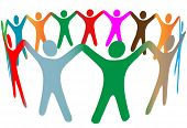 foto of joining hands  - Gradient blend of diverse group of symbol people of many colors hold their hands up in a ring - JPG