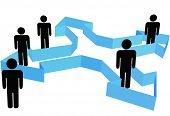 A group or team of Symbol People in organization arrows that point outward in new directions for a company or system.