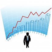 A business man silhouette in a graph chart curve success concept.