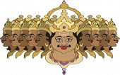 Ravana is depicted in art with up to ten heads, signifying his study of the Vedas and Shastras. Rava