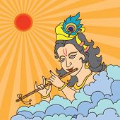 picture of lord krishna  - Lord Krishna playing flute - JPG