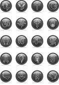 stock photo of khanda  - Religion Icon Set - JPG