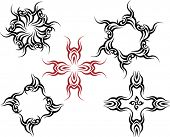 Vector Tribal tattoo set Cross, Sun, Flame Designs