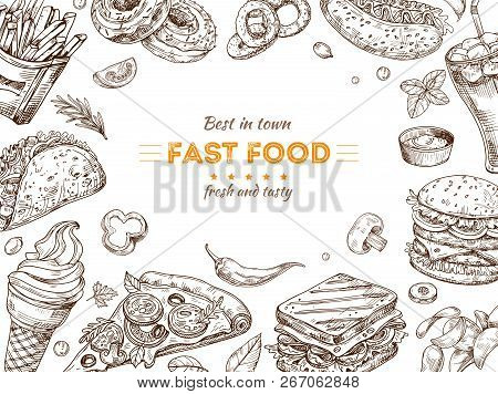 Fast Food Background Sketch Drawing