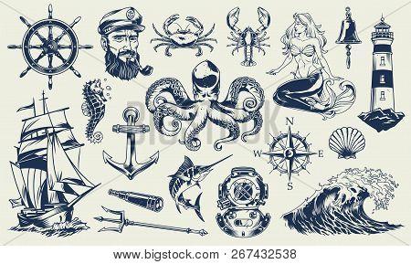 Vintage Monochrome Nautical Elements Set