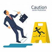 Businessman With A Briefcase Fell On A Wet Floor. Floor Sign Of Danger. Cleaning In Progress. Wet Fl poster