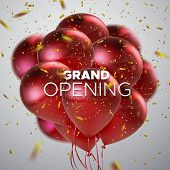 Grand Opening. Business Startup Open Ceremony. Vector Illustration. Marketing Event Label. Abstract  poster