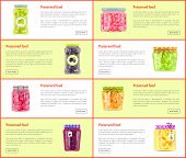 Preserved Food Banners Set Of Canned Products. Fruits, Berries And Vegetables In Jars With Marinade  poster