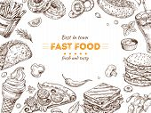 Fast Food Background. Sketch Drawing Hamburger, Cola Snacks. Doodle Ice Cream, Pizza And Sandwich. F poster