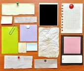 stock photo of bulletin board  - bulletin board with paper notes and old blank - JPG
