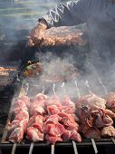 Barbecue Meat Preparation. Caucasian Barbecue In Nature poster