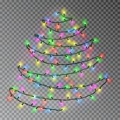 Christmas Color Tree Of Lights String Hanging On Wall. Transparent Effect Decoration Isolated On Dar poster