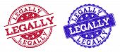 Grunge Legally Seal Stamps In Blue And Red Colors. Stamps Have Draft Texture. Vector Rubber Imitatio poster