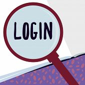 Writing Note Showing Login. Business Photo Showcasing Entering Website Blog Using Username And Passw poster