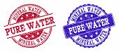 Grunge Mineral Water Pure Water Seal Stamps In Blue And Red Colors. Stamps Have Distress Style. Vect poster